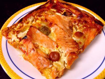 pizza au saumon fum recette entr es chaudes. Black Bedroom Furniture Sets. Home Design Ideas