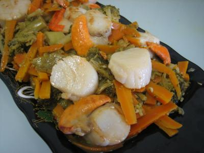 Coquilles saint jacques au gingembre fa on chinoise - Temps de cuisson coquille saint jacques ...
